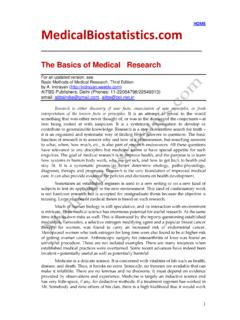 1 Medical Research is Based on Evidence