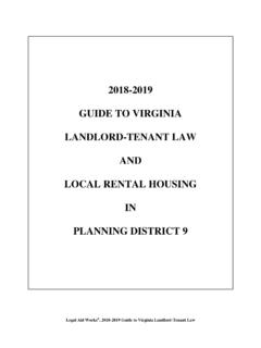 2018-2019 GUIDE TO VIRGINIA LANDLORD-TENANT LAW …