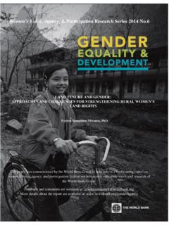 LAND TENURE AND GENDER: APPROACHES AND …