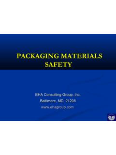 PACKAGING MATERIALS SAFETY - EHA Consulting …