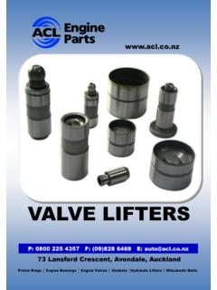 VALVE LIFTERS - Automotive Components New Zealand …
