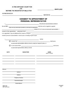 CONSENT TO APPOINTMENT OF PERSONAL …