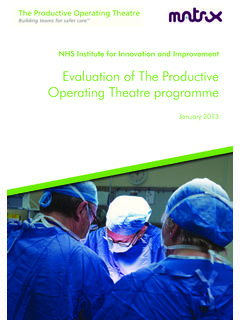 Evaluation of The Productive Operating Theatre programme