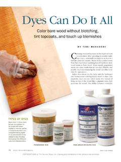 Dyes Can Do It All - Fine Woodworking