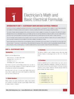INTRODUCTION TO UNIT 1—ELECTRICIAN'S MATH AND …