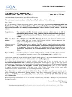 IMPORTANT SAFETY RECALL - Chrysler Official Site