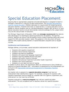 Special Education Placement - michigan.gov