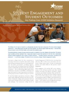 Student Engagement and Student Outcomes