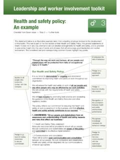Health and Safety Policy: An expample