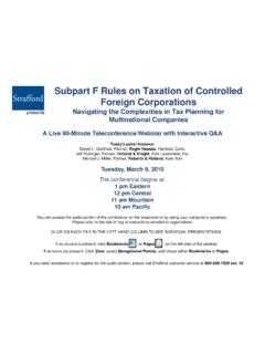 Subpart F Rules on Taxation of Controlled Foreign …