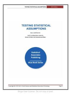 Testing Statistical Assumptions