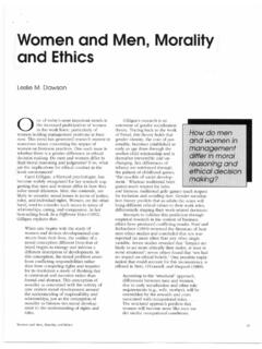 Women and men, morality and ethics. - …