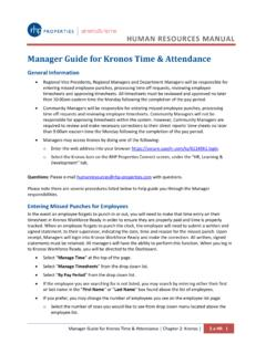 Manager Guide for Kronos Time & Attendance