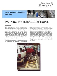 PARKING FOR DISABLED PEOPLE - UK Roads Ltd