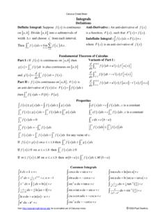 Calculus Cheat Sheet Integrals - Lamar University