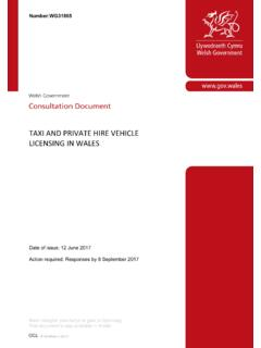 TAXI AND PRIVATE HIRE VEHICLE LICENSING IN WALES