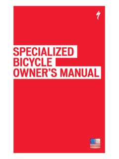SPECIALIZED BICYCLE OWNER'S MANUAL