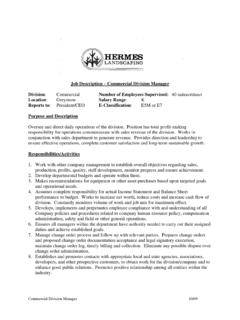 Commercial Division Manager - Hermes Landscaping