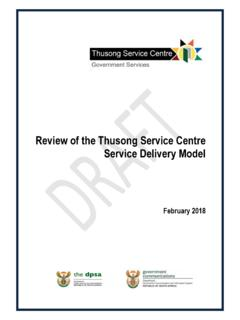 Review of the Thusong Service Centre Service Delivery Model