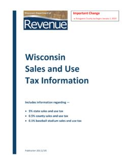 Wisconsin Sales and Use Tax Information