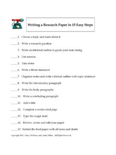 Writing a Research Paper in 15 Easy Steps
