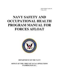 NAVY SAFETY AND OCCUPATIONAL HEALTH PROGRAM …