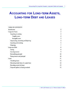 Accounting for Long term Assets Long Debt AnD …