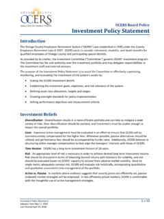 Investment Policy Statement - OCERS - Home