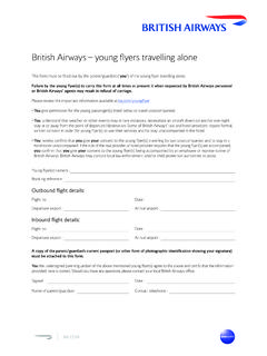 British Airways – young flyers travelling alone
