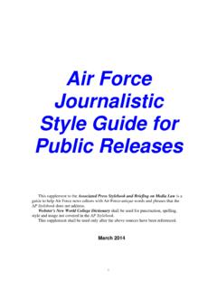 Air Force Journalistic Style Guide - March 2014