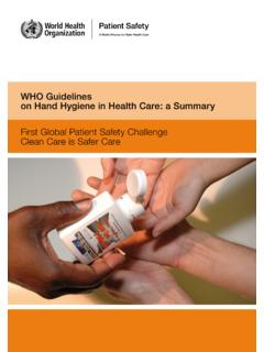 WHO Guidelines on Hand Hygiene in Health Care: a Summary ...