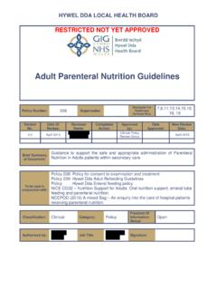 Adult Parenteral Nutrition Guidelines - NHS Wales