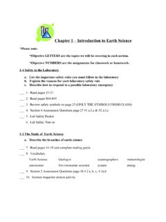 Chapter 1 – Introduction to Earth Science