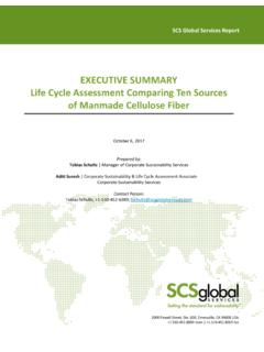 EXECUTIVE SUMMARY Life Cycle Assessment Comparing …