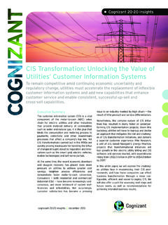 CIS Transformation: Unlocking the Value of Utilities ...