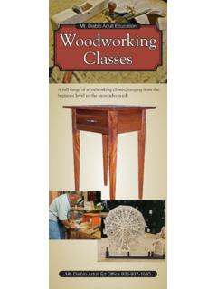 Mt. Diablo Adult Education Woodworking Classes
