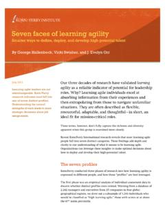 Seven faces of learning agility - kornferry.com