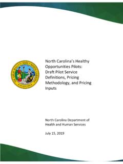 North Carolina's Healthy Opportunities Pilots: Draft Pilot ...