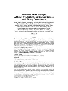 Windows Azure Storage: A Highly Available Cloud …