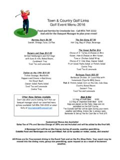 Town & Country Golf Links Golf Event Menu 2016