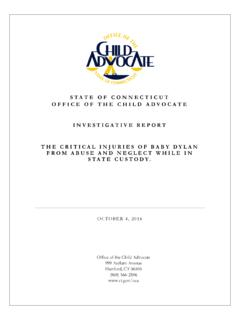 STATE OF CONNECTICUT OFFICE OF THE CHILD ADVOCATE ...