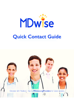 Quick Contact Guide - MDwise Inc.