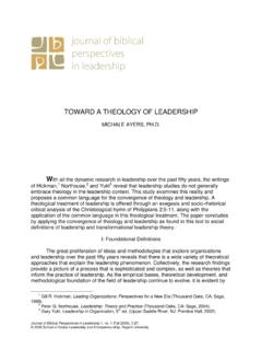 TOWARD A THEOLOGY OF LEADERSHIP - Regent University