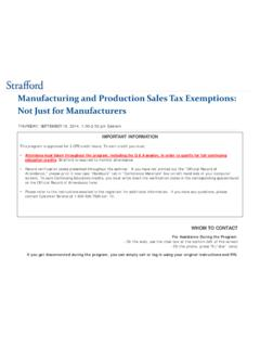 Manufacturing and Production Sales Tax …