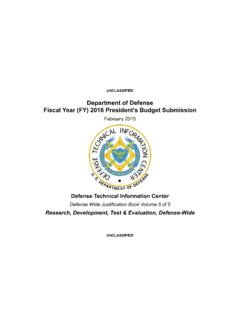 Fiscal Year (FY) 2016 President's Budget Submission ...