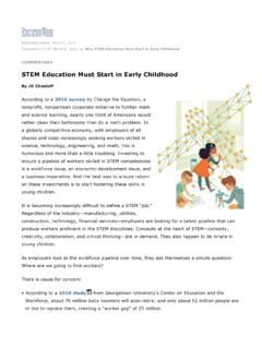 STEM Education Must Start in Early Childhood
