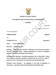 REPUBLIC OF SOUTH AFRICA THE LABOUR COURT OF …
