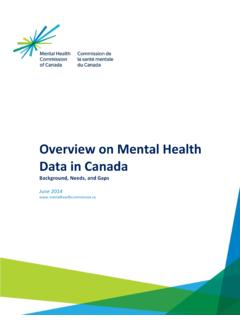 Overview on Mental Health Data in Canada