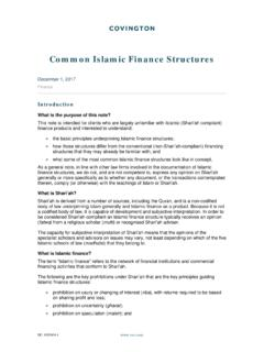 Common Islamic Finance Structures - Covington & Burling