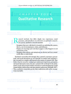 CHAPTER FOUR Qualitative Research